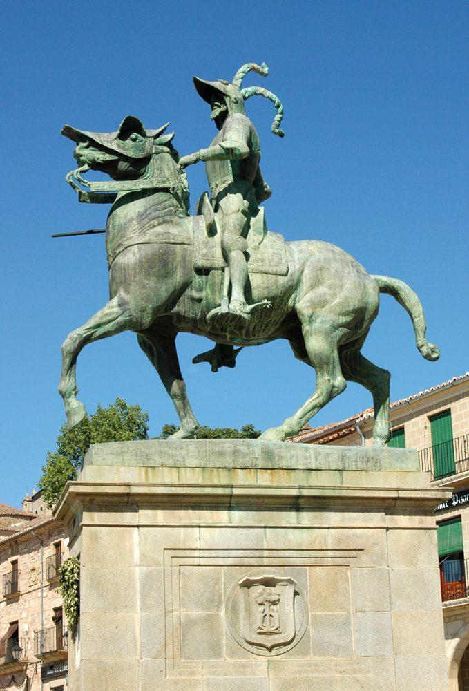 La estátua ecuestre de Francisco Pizarro. Trujillo. Cáceres