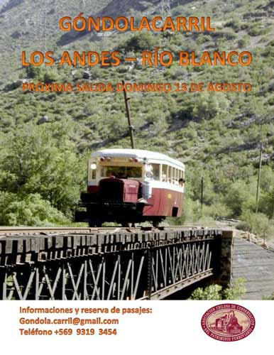 El viaje se realiza recorriendo 34 kilómetros del antiguo Ferrocarril Transandino Chileno en una antigua Góndolacarril de 1926, declarada Monumento Histórico en 1998