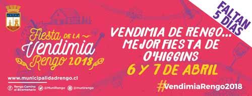 Fiesta de la Vendimia de Rengo 2018, que se realizará este 6 y 7 de abril en la Plaza de Armas de Rengo.