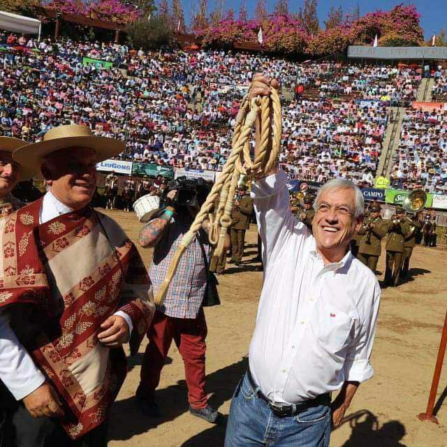 sebastian piñera defiende el rodeo y las tradiciones en el champion de chile