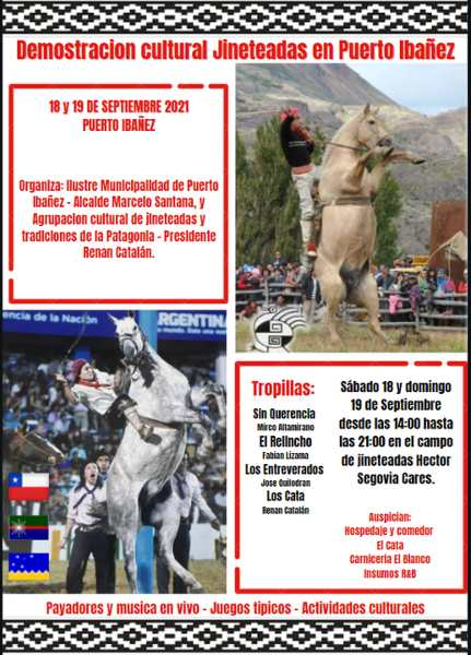 Demostración Cultural de Jineteadas en Puerto Ibáñez los días 18 y 19 de Septiembre de 2021